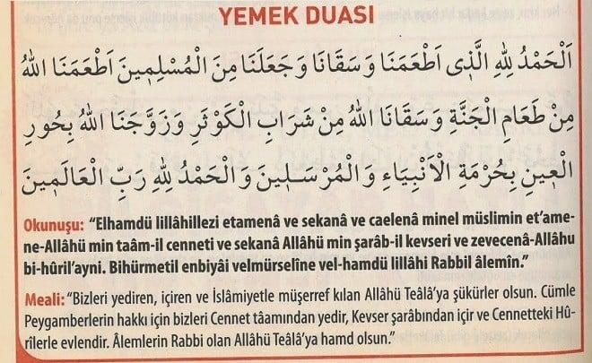 Yemek Duası Arapça ve Türkçe